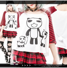 Lolita Japan Cartoon Pandaren Panda Family Striped Batwing Tshirt Jj0019