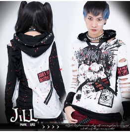Punk Metal Supernatural Photo Splashed Blood Distressed Hoodie Jj0023 W
