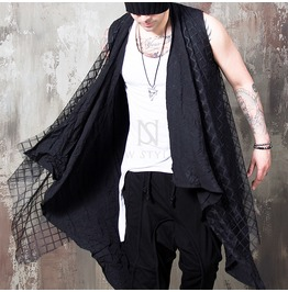 Checkered Mesh Layered Black Drape Shawl Vest 79