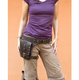 Steampunk Leather Holster Cosplay Belt Thigh Bag From One Leaf (Brown)