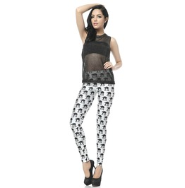 Hipster Black Pattern White Leggings Pants