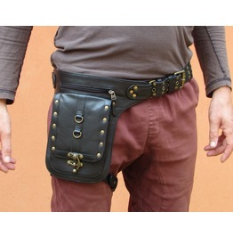 Black Leather Holster Steampunk Belt Thigh Bag From One Leaf (Black)