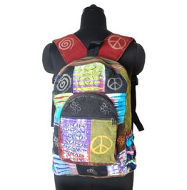 Backpack Slash Patchwork Tye Dye Rainbow Peace Rucksack Hippy Boho Festival