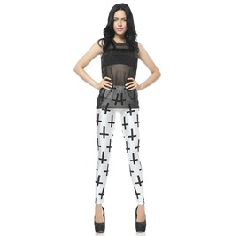 Cross Pattern White Leggings Pants