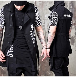 Mesh Back Accent Skull Lettering Button Up Black Vest 81