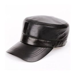 Genuine leather biker trucker snapback army cap hats and caps