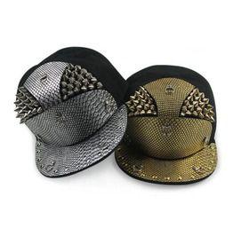 efc10362e20 Gold Silver Rivets Studs Snake Skin Pu Leather Baseball Cap
