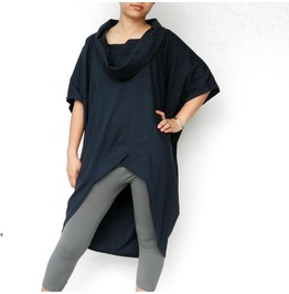 Women's Navy Blue Blouse,Asymmetrical Top In Cotton Jersey T160