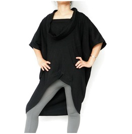 Women's Black Blouse,Asymmetrical Tops In Cotton Jersey T160