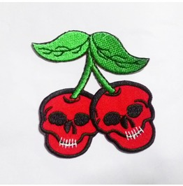 Cherry Skull Iron On Patch.