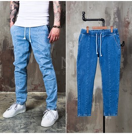 Simple 2 Color Drawcord Denim Jeans 276