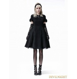 Black Gothic Lolita Short Sleeve Woolen Dress Lq 069