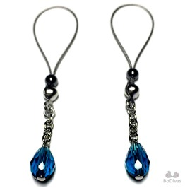 Nipple Noose Non Pierce Faceted Teardrop Peacock Blue Hematite Adjuster