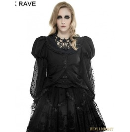 Black Gothic Puff Sleeve Coat For Women Ly 055