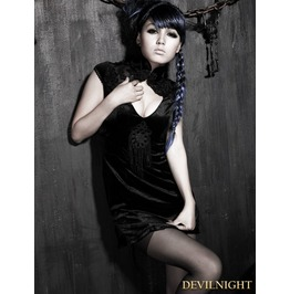 Black Gothic Sexy Chinese Style Dress Q 179