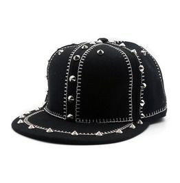 d4fe1f1913e27 Punk Studs Rivets Black Swag Hats For Men And Women
