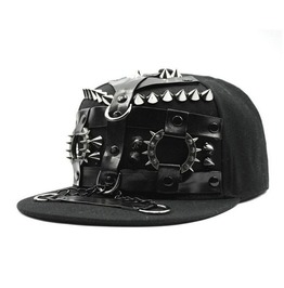 Harness Bondage Design Rivet Spikes Chains Pu Leather Cap For Men & Women