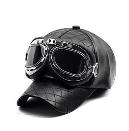 Vintage Goggles Pilots Black Leather Cap Men Women