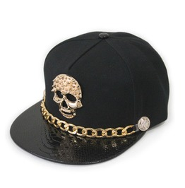 Golden Skull Rivet Logo Pu Leather Visor Caps Men Women