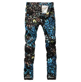 Butterfly 3 D Print Casual Slim Fit Painted Denim Jeans