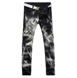 Wolf print stretch slim black painted denim jeans jeans