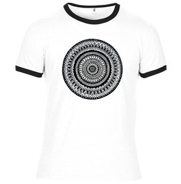Summer White/ Black Ringer T Shirt With Hand Drawn Hand Printed Artwork