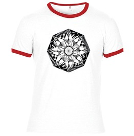 Summer White/ Red Ringer T Shirt With Hand Drawn Hand Printed Artwork