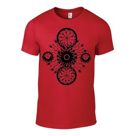 Classic Red Tshirt With Original Artwork Hand Printed With Black Ink