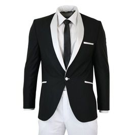 Mens White Black Coat Shawl Collar Tuxedo Wedding Coat