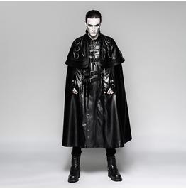 Punk Rave Men's Steampunk Faux Leather Long Cloak Coat Y747
