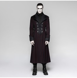 Punk Rave Men's Steampunk Stripes Long Coat Y742