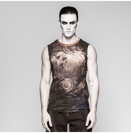 Punk Rave Men's Steampunk Mechanical Gear Printed Tank Tops T466
