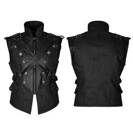 Punk Rave Men's Military Faux Leather Cross Vests Y738