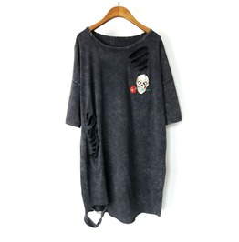 Women's Punk Skull Patch Distressed Loose Longline T Shirt