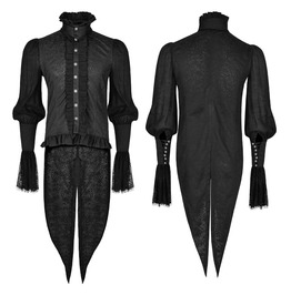 Punk Rave Men's Gothic Dovetail Ruffles Lace Long Sleeves Shirts Y739