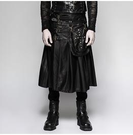 Punk Rave Men's Faux Leather Bucle Up Kilt With Waist Bag Q325