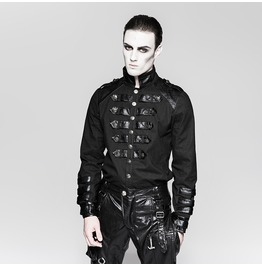 Punk Rave Men's Military Stand Collar Casual Shirts Y753