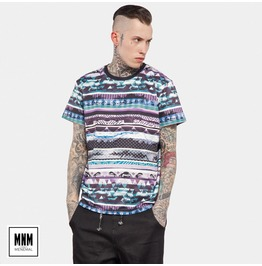 Men's Vintage Abstract Stripes Printed Cotton T Shirt