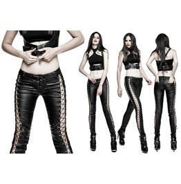 Women Punk Pencil Style Fashion Pant Gothic Women Binding Side Patch Work P