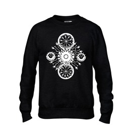 Mens Summer Black Sweatshirt With Hand Drawn Hand Printed Design