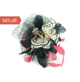Sale! Pillbox Headpiece Hat Large Feathered Flower In Pink And Black