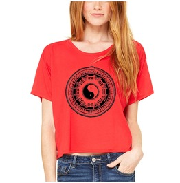 Red Crop T Shirt With Hand Drawn Artwork Printed In Eco Friendly Ink