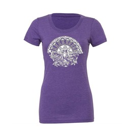 Purple T Shirt With Original Lotus Heart Artwork Printed In White Ink