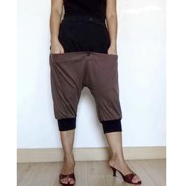 Brown Two Tone Capri Drop Crotch Pants Unisex Short P18
