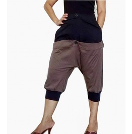 Brown Two Tone Capri Drop Crotch Pants Unisex Short P18