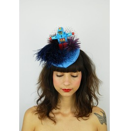 Pillbox Hat Fascinator Headpiece Feathered With Vintage Replica Robot Toy