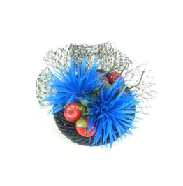 Fascinator Headpiece In Blues With Feathered Flowers, Cherries And Veil