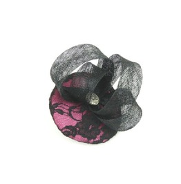 Fascinator Headpiece Cocktail Hat Sinamay Twirl, Pink Lace & Vintage Button