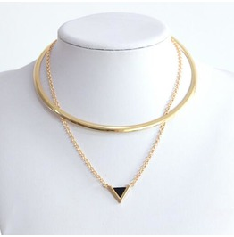 Fashion Women Geometric Triangle Pendant Multilayer Necklace Bz020