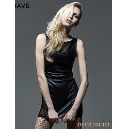 Black Sexy Sleeveless Gothic Mesh Spliced Dress Q 269